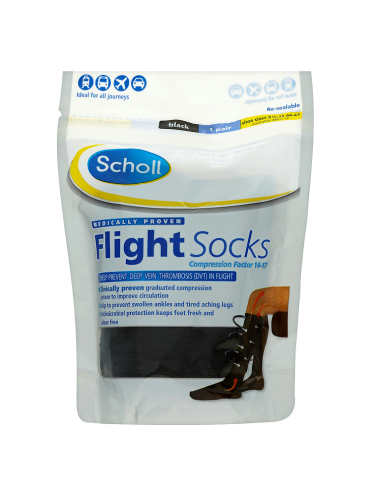 Scholl Flight Socks Black 1 Pair Shoe Sizes 9 1/2-12