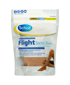 Scholl Flight Socks Sheer Natural 2 Pairs Shoe Sizes 6 1/2-8