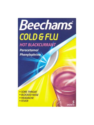 Beechams Cold & Flu Hot Blackcurrant 5 Sachets
