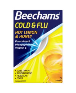 Beechams Cold & Flu Hot Lemon & Honey 5 Sachets