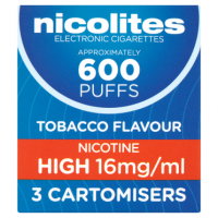 Nicolites Electronic Cigarettes Nicotine High 16mg/ml Tobacco Flavour 3 Cartomisers