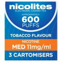 Nicolites Tobacco Flavour Nicotine Med 11mg/ml 3 Cartomisers