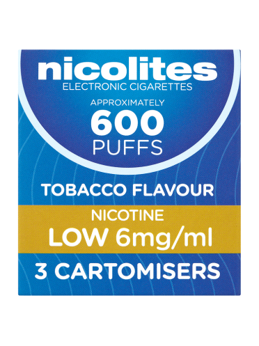 Nicolites Tobacco Flavour Nicotine Low 6mg/ml 3 Cartomisers