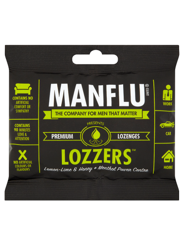 Manflu Lozzers Ultimate Lozenges Lemon-Lime & Honey + Menthol Power Centre