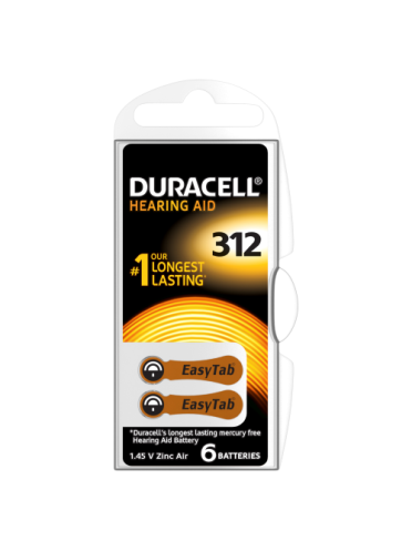 Duracell DA312 Hearing Aid Batteries 6 counts