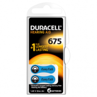Duracell DA675 Hearing Aid Batteries 6 counts